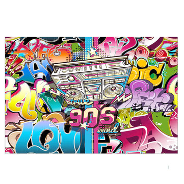 7x5FT 1990s Hip Hop Party Theme Photography Backdrop Studio Prop Background