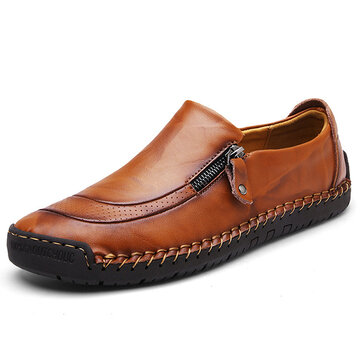 Banggood Shoes Men Comfy Hand Stitching Натуральная Кожа Side Zipper Slip On Oxfords