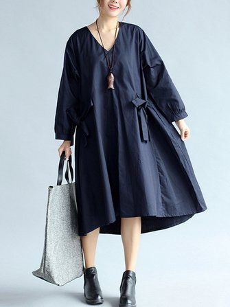 Casual V-neck Bowknot Loose Long Sleeve Women Dress