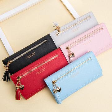 Women Faux Leather Korean Version Multi-function Wallet Phone Bag Large Capacity Messenger Bag