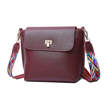 Colorful Strap Women Bucket Bags Casual Lock Anti Theft Shoulderbags Crossbody Bags
