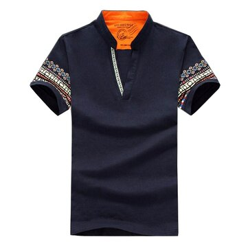 National Style Men Polo Loose Short Sleeve T Shirts Plus Size S-3XL