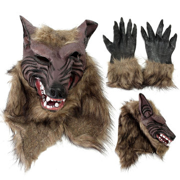 Latex Rubber Wolf Head Hair Mask Werewolf Gloves Party Scary ...