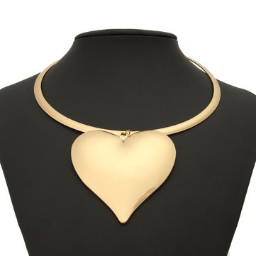 Larger Heart Pendant Women Gold Silver Plated Zinc Alloy Chokers Necklace