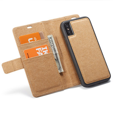 WHATIF Protective Case For iPhone XS Max Waterproof Kraft Paper Magnetic Detachable Wallet