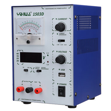 YIHUA 1503D 15V 3A 110V/220V Precision Variable Dual Digital DC Power Supply Lab Test