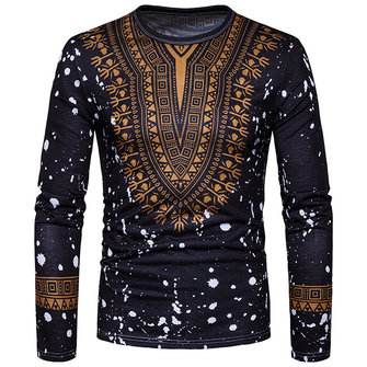Men's Fashion Folk Style 3D Floral Printed Long Sleeved T-shirt Casual Round Neck Tops Tees