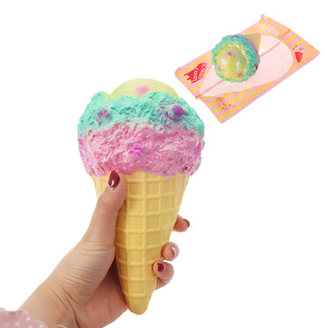 Kiibru Squishy Rainbow Ice Cream 18.5cm Slow Rising With Packaging Collection Gift Soft Toy