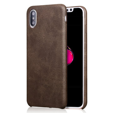 Bakeey ™ Retro Soft Custodia in pelle ultra sottile in cuoio per iPhone X