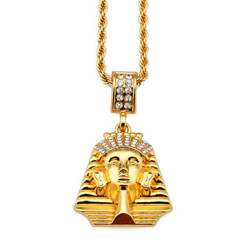 Men's Hip Hop Gold Necklace Fashion Rhinestone Pharaoh Pendant Necklace