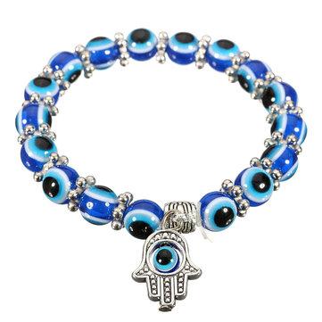 Handmade Unisex Evil Eye Glass Beads Palm Elastic Bracelet