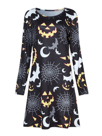 Halloween Women Long Sleeve Black WhiteGray Bats Moonlight Printed Elastic Dress