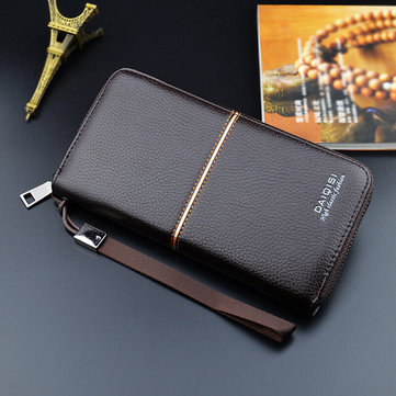 Men PU Double Fold  Long Zipper Business Wallet Card Holder