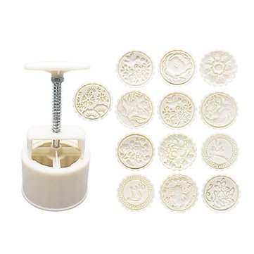 1 Mould And 13 Style Flower Stamps 150g Round Moon Cake Baking Mold Hand Pressure Decor