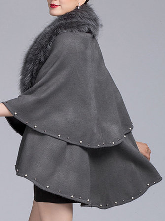 Women Elegant Fur Collar Layers Solid Color Cloak Cape Coats