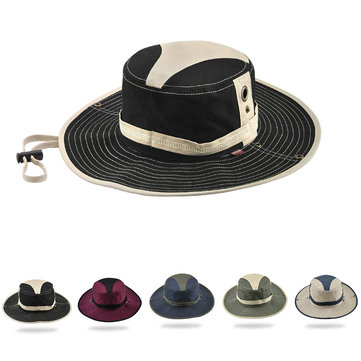 Wide Brim Fishing Cap Cotton Outdoor Patchwork Bucket Hats