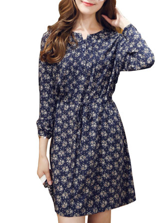 Ruffles Vintage Casual Dark Blue Floral Drawstring Button Women Skater Dress