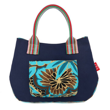 Women National Canvas Tote Floral Contrast Color Handbags 5 Color