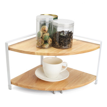 2-Tier Kitchen Wooden Corner Shelf Display Rack Nuts Can Jar Storage Organizer