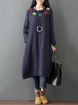 Vintage Women Long Sleeve O-Neck Embroidered Patchwork Dress