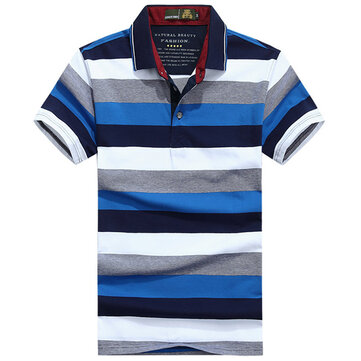Mens Summer Casual Contrast Color Striped Printed Breathable Cotton Golf Shirt