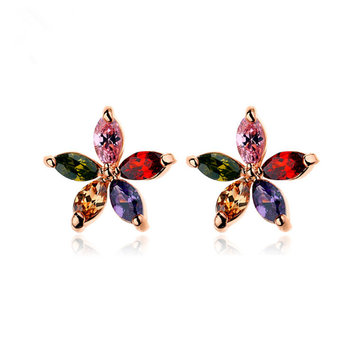 Colorful Zirconia Flower Stud Earrings for Women