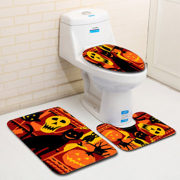 3PC Halloween Print Carpet Bathroom Non-Slip Pedestal Rug Lid Toilet Cover Bath Mat Set