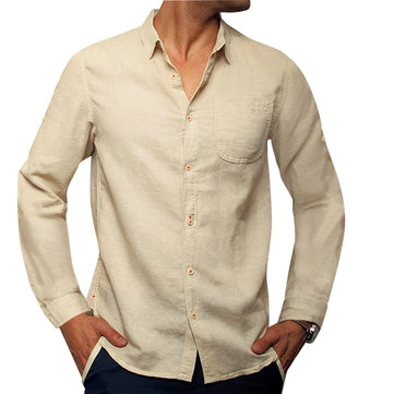 ChArmkpR Mens Cotton Solid Color Classic Autumn White Shirts