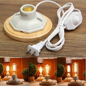 Industrial Vintage E27 Ceramics Wooden Lamp Base Socket for Desk Table Light