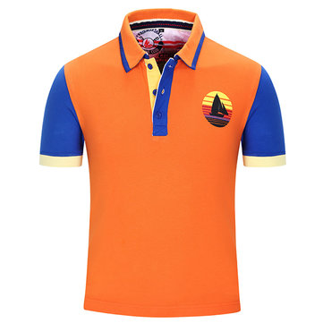 Mens Summer Casual Spell Color Polo T-Shirt Fashion Turn-down Collar Short Sleeve T-shirt