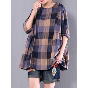 Casual Loose Plaid Long Sleeve Women Pleated Blouse