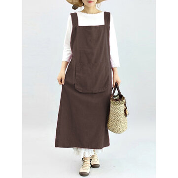 Vintage Women Sleeveless Strap Linen Cotton Pinafore Japanese Dress