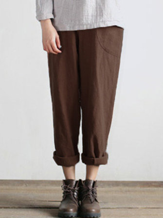 Women Cotton Harem Pants Casual Pockets Loose Baggy Trousers