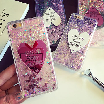 Glitter Liquid Quicksand Lovely Heart Ice Cream Crystal Clear Case Cover For iPhone 6/6s Plus 5.5