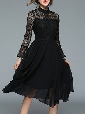 Elegant Women Lace Patchwork Bell Sleeve Vintage Dress