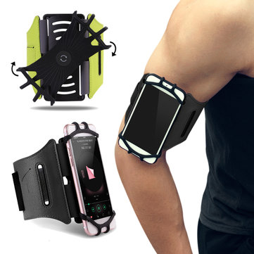 ROCK 180° Rotation Sport Waterproof Armband Arm Bag With Key Holder For Phone 4