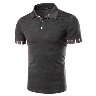 Summer Cuff Stripes Stitched Lapel T-shirt Mens Slim Fit Sho