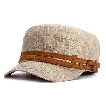 Summer Casual Breathable Cotton Flat Top Hat For Men Military Visor Cap Adjustable