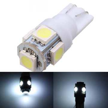 T10 5050 5SMD W5W 80lm Xenon White Wedge Car Reading Light Instrument License Side Light Lamp