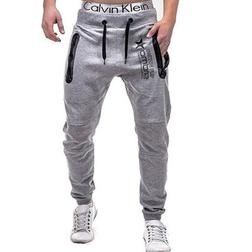 Men's Elastic Waist Drawstring Casual Sweatpants Hip Hop Style Fitness Printed Sports Pants