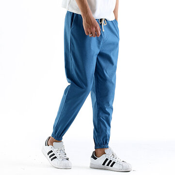Summer Men's Casual Harlan Linen Nine Minutes Of Pants Leisure Loose Slacks Pants