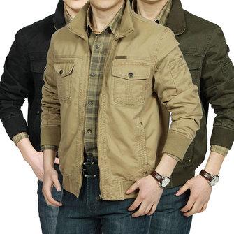 Mens Military Cotton Wearable Chest Pockets Zipper Outwear Jacket
