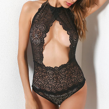 Sexy femmes avant creux Arrièreless High Neck Teddies Nightwear