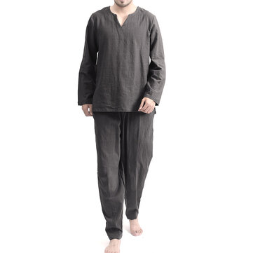 TWO-SIDED Mens Cotton Comfy Soft Solid Color Long Sleeve Sleepwear Set Yoga Pajamas Set