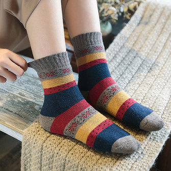 Women Vintage Winter Warm Wool Blend Middle Tube Socks