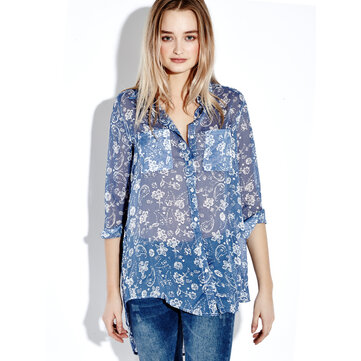 Retro Floral Print Long Sleeve Lapel Loose Women Blouse Top