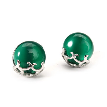 925 Silver Green Chalcedony Stud Earrings