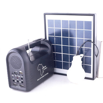 9V 3W Solar Panel Solar Generator LED Light Emergency Charging Speaker Home System