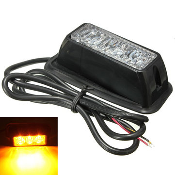 12V 3W 3 LED Emergency Strobe Flashlight Yellow Waterproof