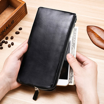 Men Genuine Leather Slim Multi-function Long Wallet Card Hol
